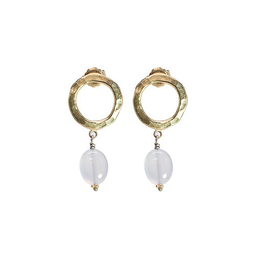 Single SPHERITA 14k yellow dangly earrings