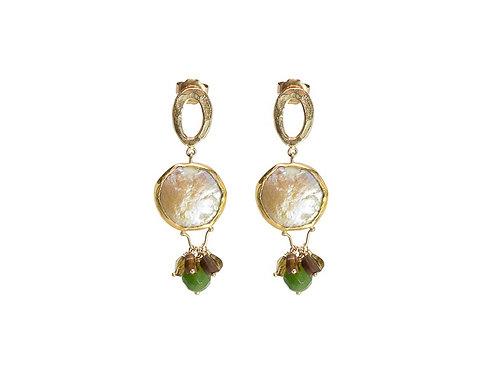 Golden OOID coin pearls dangly earrings