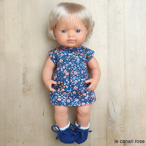 Ensemble en Liberty bleu pour poupée Miniland et Gordis