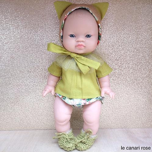 Blouse à collerette Culotte Béguin tigre pour poupée Minikane Miniland Gordis