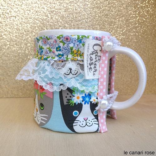 """Doudoune à mug """"le chat romantique"""""""