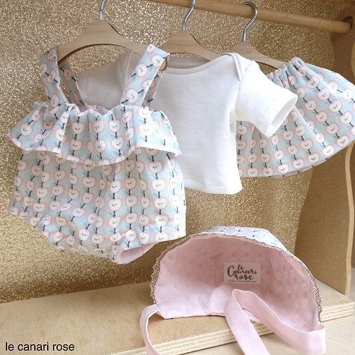 Barboteuse tee-shirt jupe béguin et chaussons pour poupées Minikane Miniland