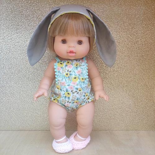 Barboteuse à fleurs pastels Ballerines et Béguin lapin pour poupée Minikane