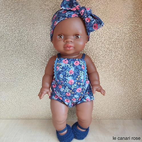 Barboteuse fleurie bleue Bandeau Ballerines pour poupée Minikane Miniland