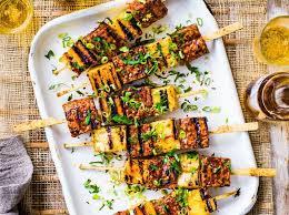 VEGAN - Umeboshi tempeh and pineapple kebabs