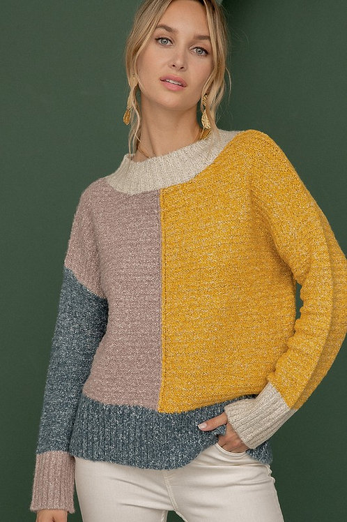 Mock Neck Color Block Sweater