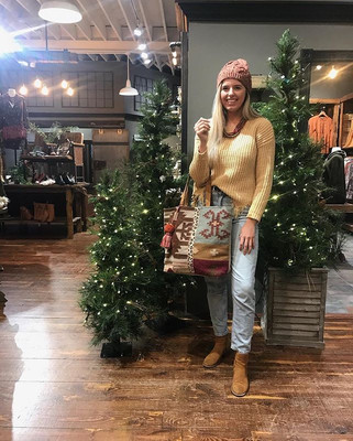 Cutest mustard sweater with purse