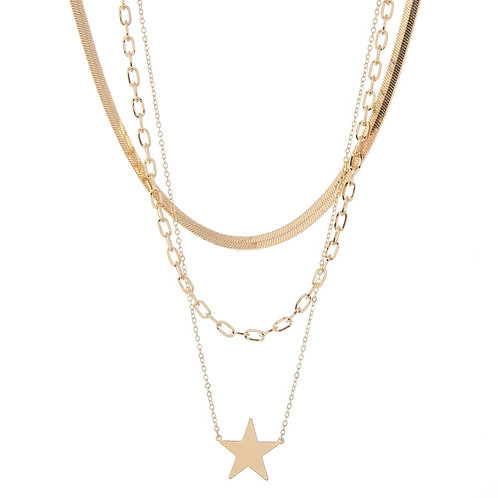 Layered Herringbone Star Necklace