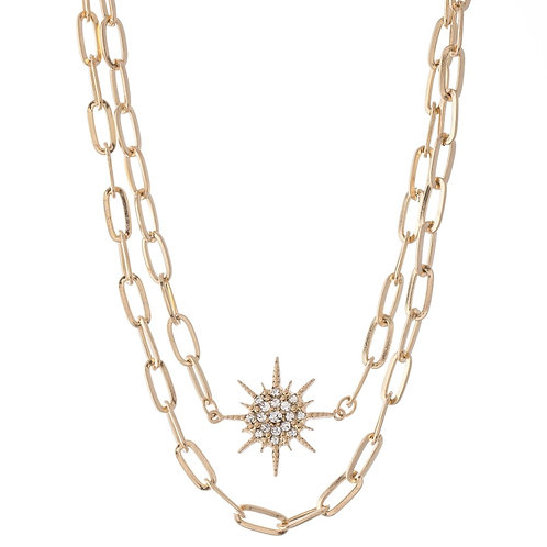 Chain Link Layered Star Necklace