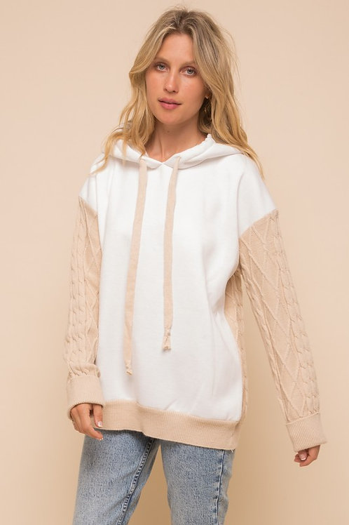 Fleece Hoodie Cable Knit Sweater