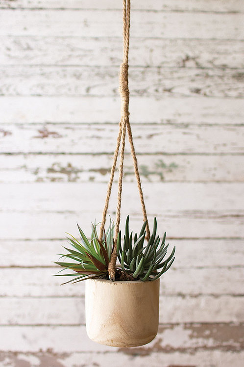 Hand Carved Hanging Wooden Planter