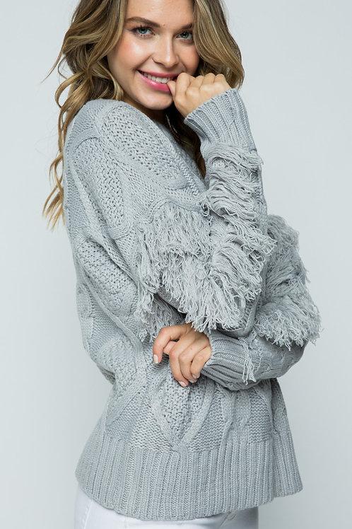 Fringe Sleeve Cable Knit Sweater