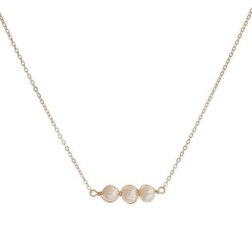 Dainty Three Pearl Necklace