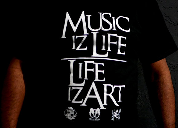 Music Iz Life/Life Iz Art (Black Tee)