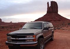 GM Suburban in Monument Valley