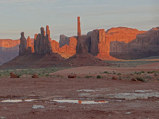Totem Pole and Yei Bi Chei Formations at sunset