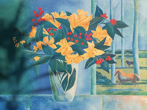 Liliums à la fenêtre bleue
