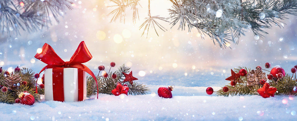 Christmas Holiday Background With Gift A