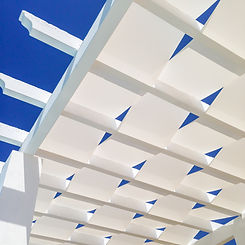 The white material weave of the roof of