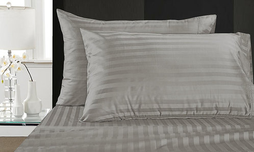 BED SHEET SET | LUXURY SATIN STRIPES | GREY