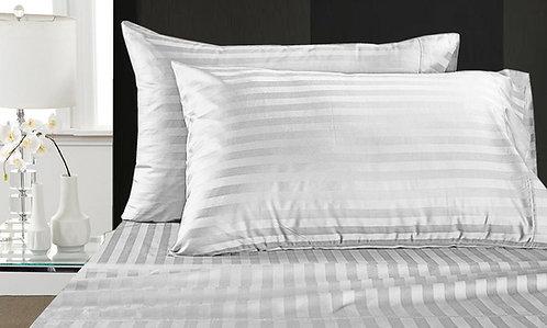 BED SHEET SET | LUXURY SATIN STRIPES | WHITE