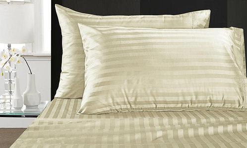 BED SHEET SET | LUXURY SATIN STRIPES | IVORY
