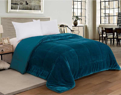 SHERPA QUILT DOUBLE-FACED | OCEAN BLUE