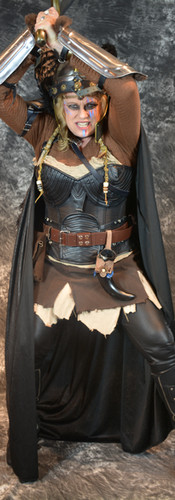 Lambdin in cosplay as her Valkyri character.