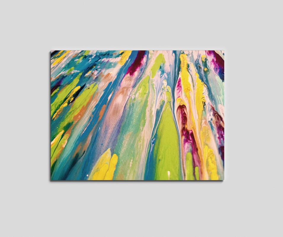 """10"""" H x 18"""" W  Acrylic on wood panel."""