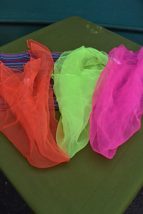 Large UV juggling scarfs set of 3