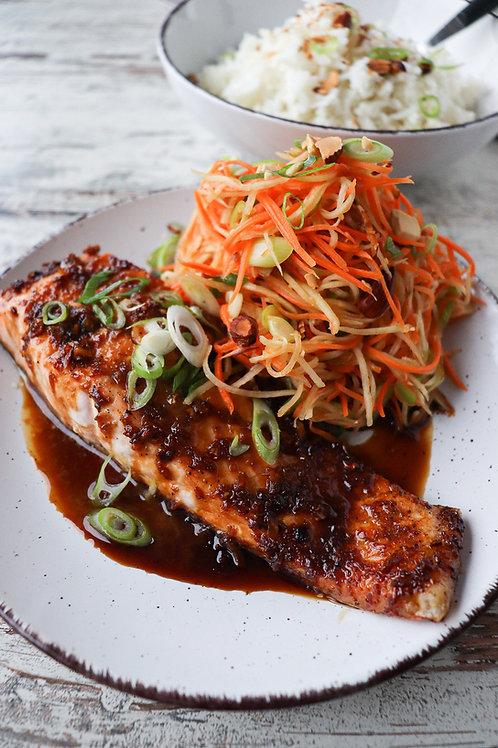 Soy Glazed Salmon w/ Kohlrabi Carrot Slaw