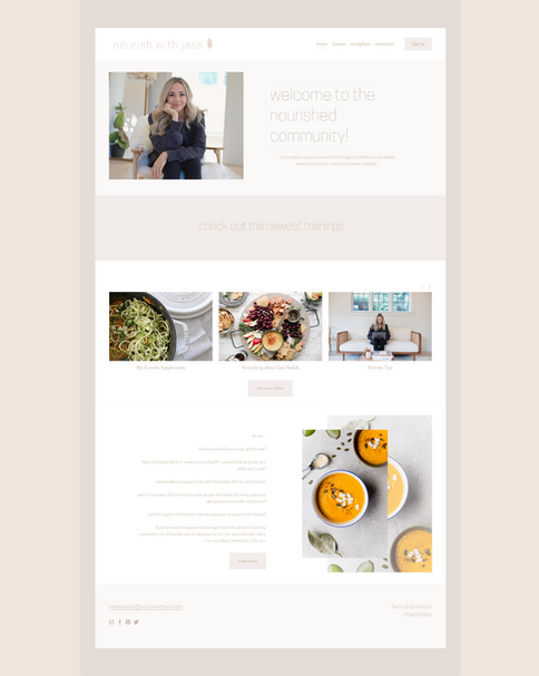 Nourished Membership Website Portfolio P