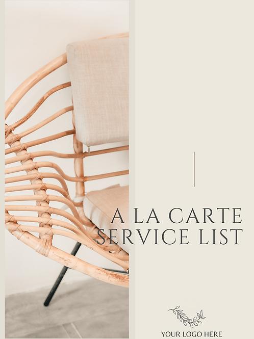 A La Carte Service List (Rate Card)