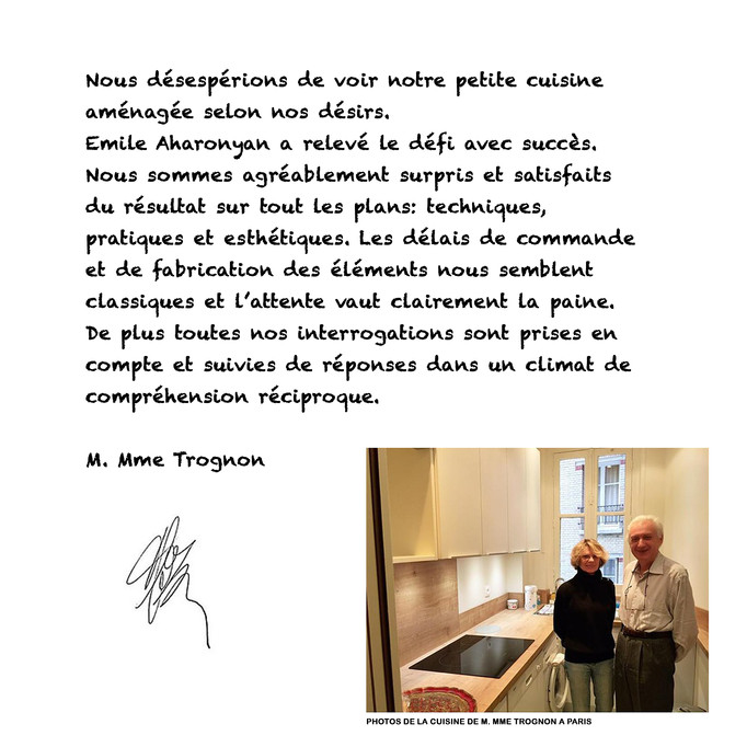 ESQUIZ, Merci à M. Mme Trognon. (avis clients)
