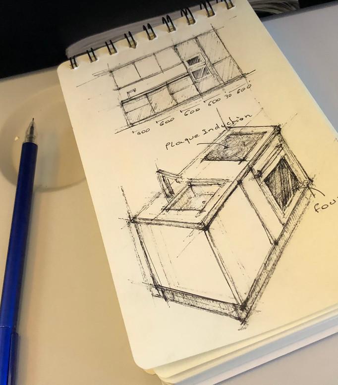 Avion = temps = travail = cuisine design.