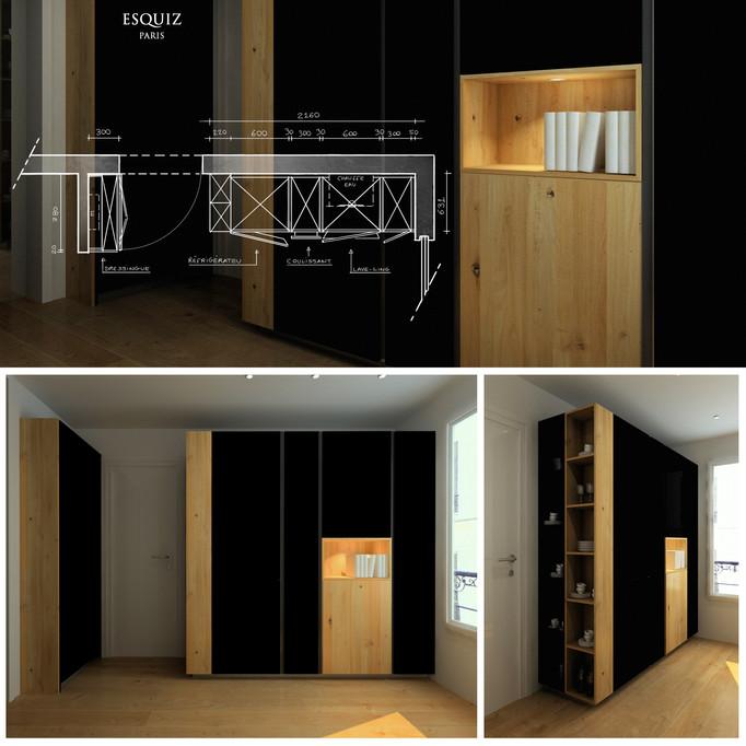 ESQUIZ, Aménagement complémentaire d'une cuisine équipée Zecchinon. Materiaux: bois chêne et laq