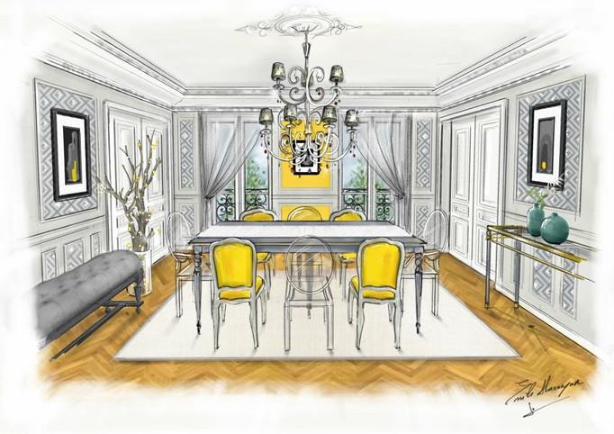 Croquis du projet d'appartementà Paris 6
