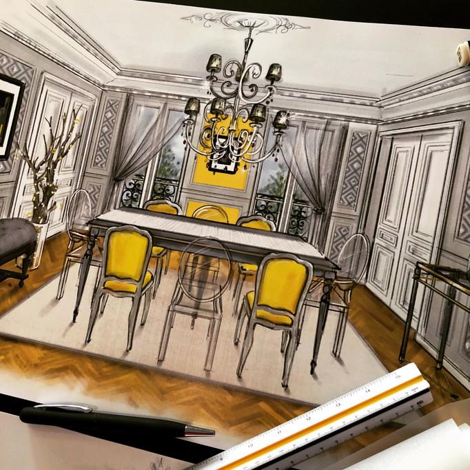 Partie 2 projet d'aménagement d'intérieur d'un appartement haussmannien à Paris 75016 près du Bon Ma