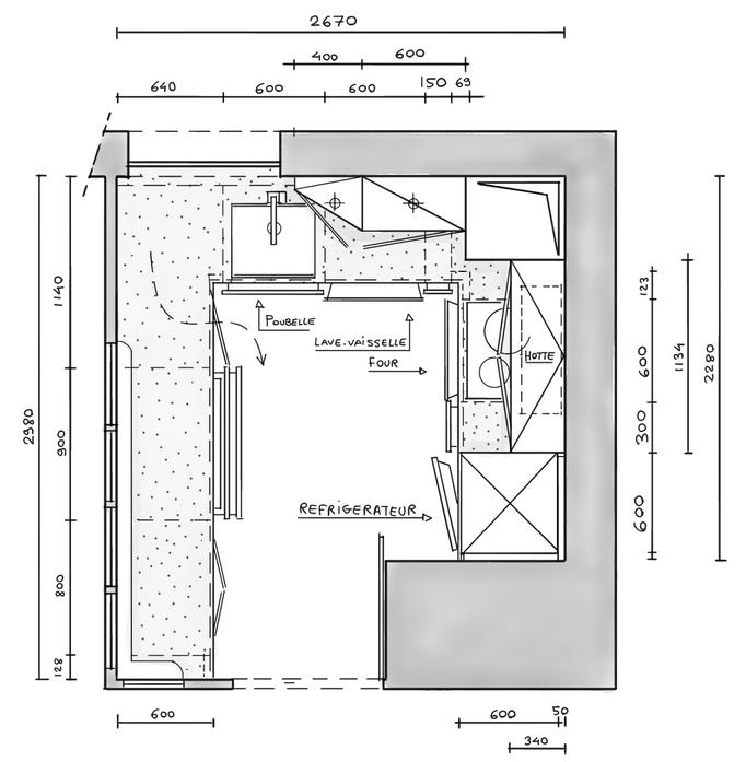 Esquiz plan d'une cuisine avec verrière, En cours de réflection.