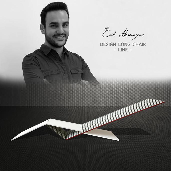 """PARIS DESIGN, chaise longue designé par Emile Aharonyan, """"LINE""""  (ligne)."""