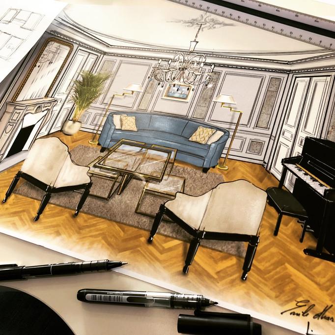 Projet d'aménagement d'intérieur d'un appartement haussmannien à Paris 16 près du Bon Marché. Dessin