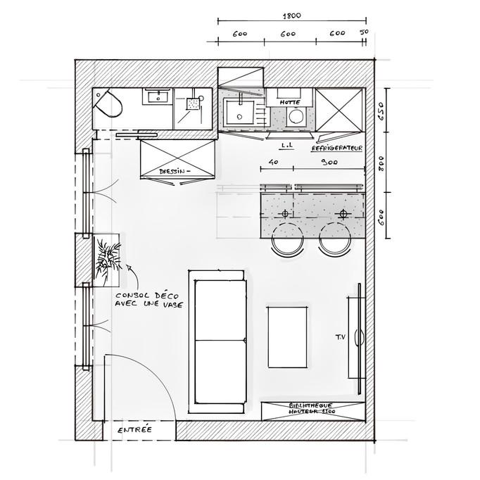 Esquiz.Plan et recherche d'aménagement d'un petit studio de 19m2 avec un minimum d'investissement p