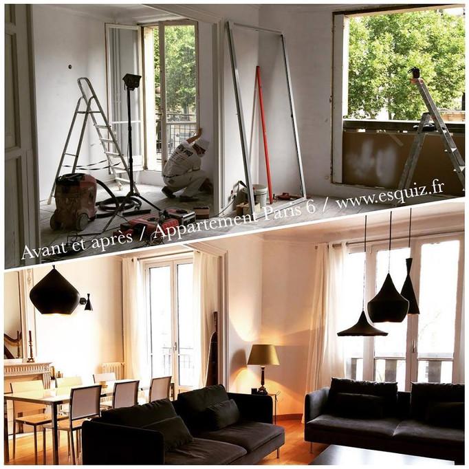 ESQUIZ, Projet de rénovation total d'un appartement à Paris 75006. Photo avant et aprés.