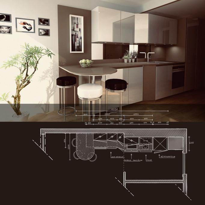 Projet d'une belle cuisine pour un appartement situé à Paris 14em à côté du parc Montsouris. Ell