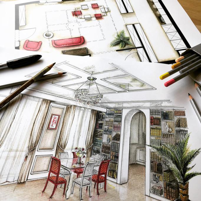 ESQUIZ, projet d'architecture, amenagement et déco dans un appartement à Paris.