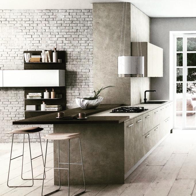 Magnifique cuisine Zecchinon, idéalement conçu pour son environnement, avec les finitions en béton c