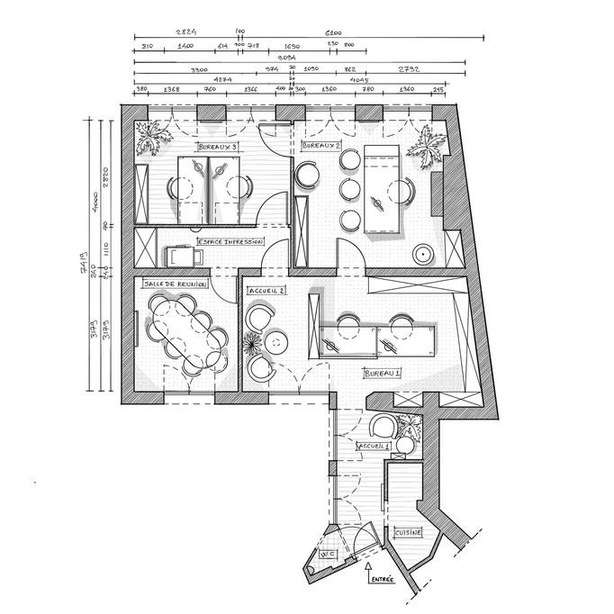 ESQUIZ, Plan d'aménagement de bureau à Paris 75006. Comme nous passons une grande partie de notr