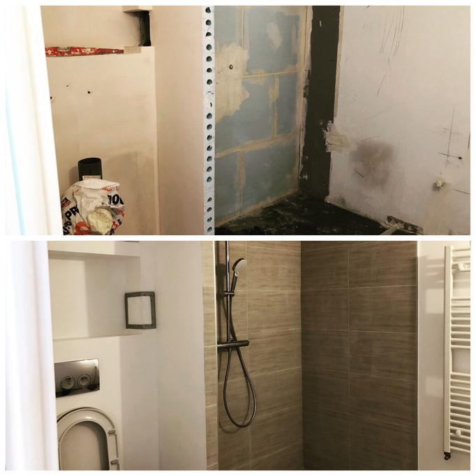 ESQUIZ photo rénovation avant et après d'une petite salle-de-bain.