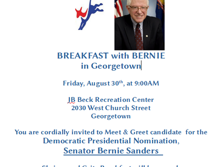 Bernie Sanders in Georgetown Friday -RSVP