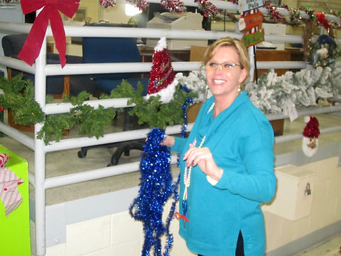Blameless and Forever Free Ministries Founder Tammy Ingram FSP IFC council helping decorate Folsom State Prison for Christmas